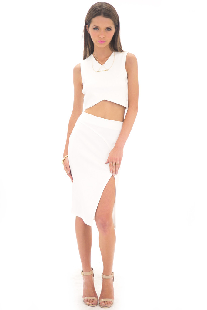 SLIT PENCIL SKIRT - WHITE | Haute & Rebellious