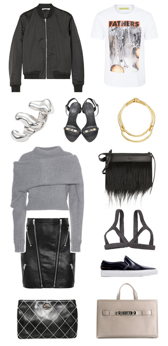 the haute pursuit blogger sandals outfit grey sweater white t-shirt bomber jacket leather skirt pouch