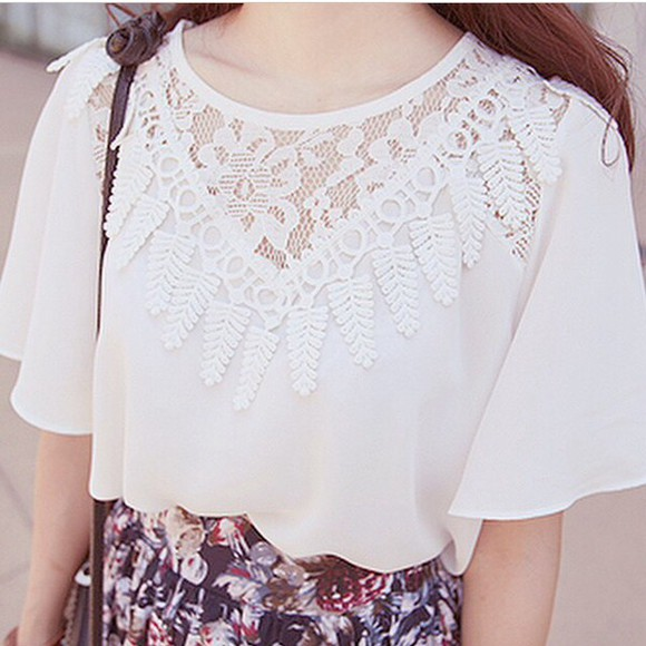 t-shirt top white blouse white top lace top white blouse lace white lace cute top cute boho