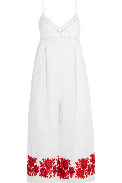 Zimmermann Roza Embroidered Linen Jumpsuit in red / white