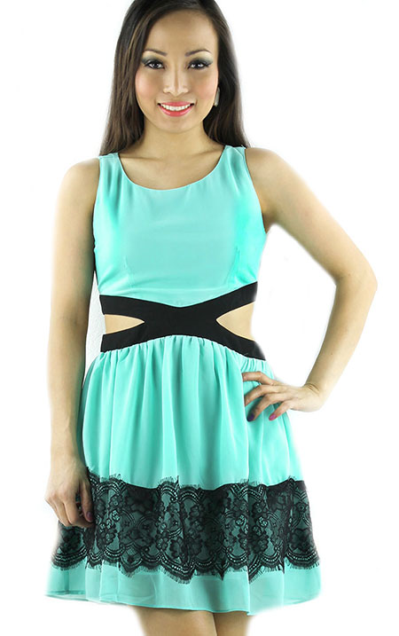Baby doll mint cutout pastel dress