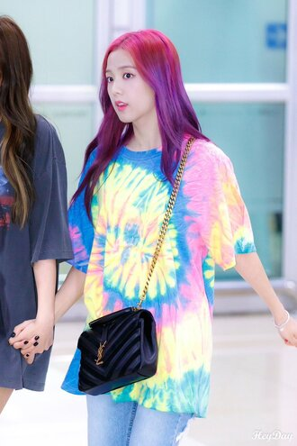 t-shirt tie dye tie dye shirt jisoo shirt dress