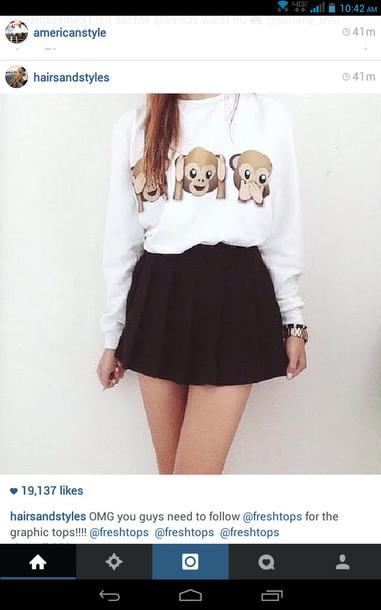 shirt blouse emoji shirt sweater t-shirt skirt emoji print black and white