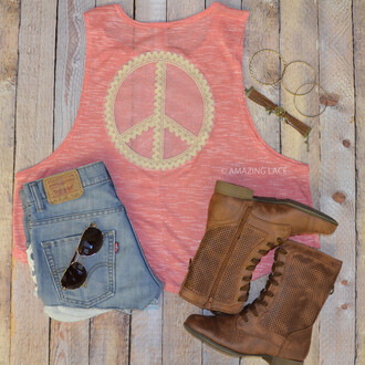 tank top pink tank peace sign lace details
