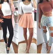 white top,crop tops,black leggings,pink skirt,mini skirt,high waisted jeans,ripped jeans,red top,long sleeves,statement necklace,sneakers,nude heels,ootd