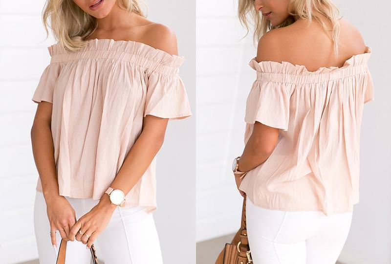 Apricot Off Shoulder Puff Blouse on Storenvy