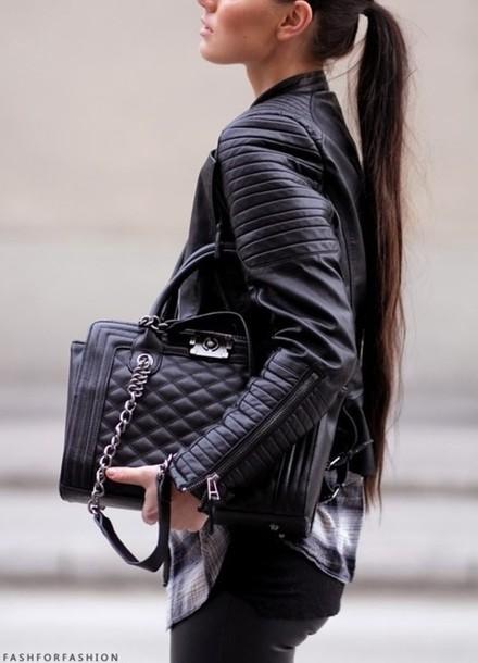 bag black purse silver chain d981508023e9