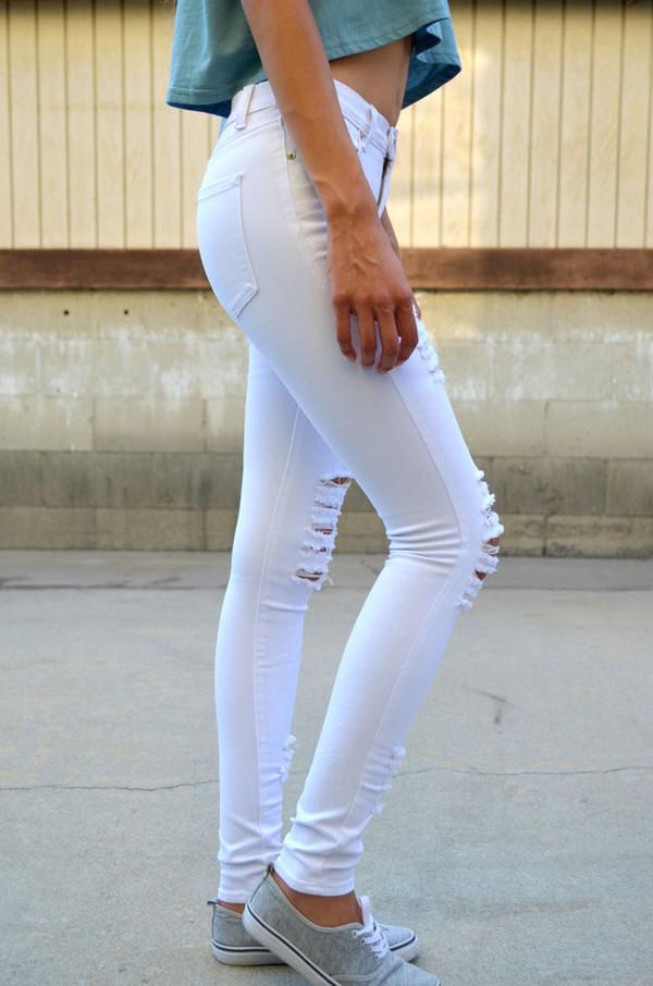 jeans denim skinny jeans white white jeans white skinny jeans ripped jeans ripped denim ripped white denim