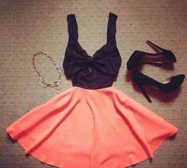 dress pink black cute top skirt