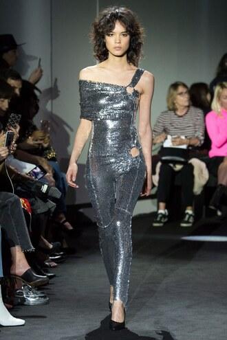 jumpsuit runway sequins metallic silver pants top off the shoulder off the shoulder top paris fashion week 2017 paco rabanne