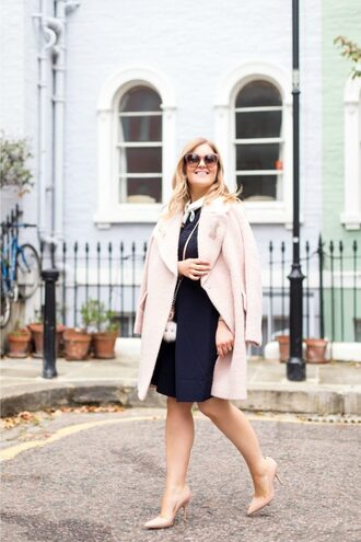 agirl astyle blogger coat dress shoes bag sunglasses jewels make-up nail polish pink coat nude heels high heel pumps