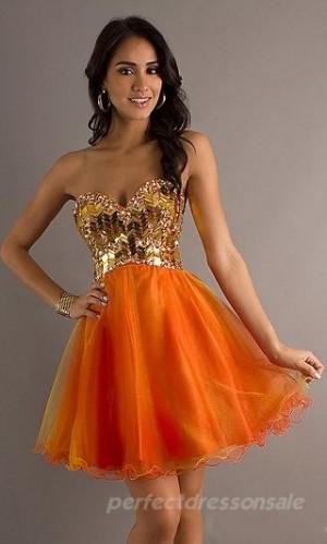Line Basque Prom Dresses Short Orange Prom Dresses 04994