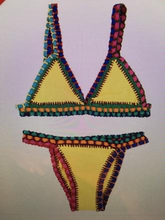 swimwear yellow crochet bikini bikini yellow swimwear