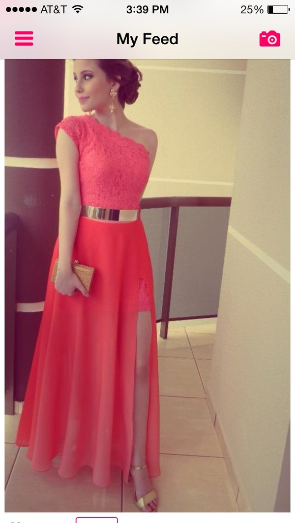 dress lovely gorgeous beautiful pink long coral dress gold belt metal gold waist belt belt red dress one shoulder gold jewelry long evening dress long prom dress long red dress lace dress lace dress prom dress chiffon dress party dress evening dress prom dress debs dress prom dress evening dress chiffon sexy dress coral