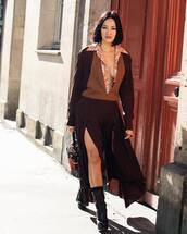 dress,v neck dress,asymmetrical dress,long sleeve dress,black booties,platform boots,printed shirt,handbag