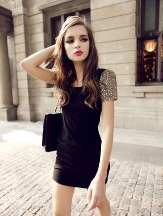 dress black black dress gold gold and black sparkly sparkle