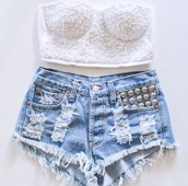 shirt,strapless top,High waisted shorts,studded shorts,jeans,white crop tops,shorts,tank top,white bralette,summer,bralette,pretty,denim shorts,studs,fashion,crop tops,studded,corset,white,strapless,t-shirt,hat,denim,tie dye,tubetop,corset top,white bandeau top,cut up shorts,girly,colorful,pink,running crop tops colourful,top,cute,outfit,sleeveless,skirt,stud