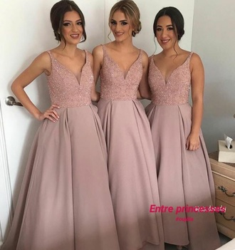dress pastel pink gala wedding nude pink dress bridesmaid