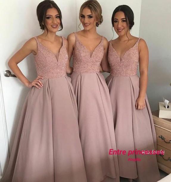 Dress Pastel Pink Gala Wedding Nude Pink Dress Bridesmaid