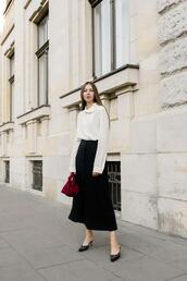 oliviakijo,blogger,top,skirt,red bag,midi skirt,white blouse