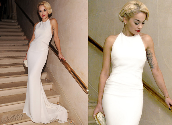 dress celebrity style halter neck open back dresses tie back rita ora White halter neck gown white halter neck white mermaid dress white gown long dress white dress evening dress maxi dress long evening dress white high neck maxi dress helters crop tops long prom dress white dresses 2014