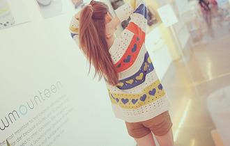 sweater heart orange yellow blue white heart sweater