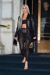 leggings,tights,kim kardashian,kardashians,see through,top,jacket,all black everything,nyfw 2017,ny fashion week 2017,bra,bralette