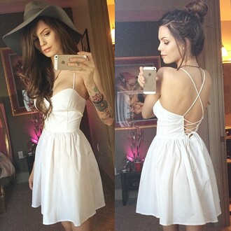 dress white white dress cute cute dress backless backless dress summer summer dress