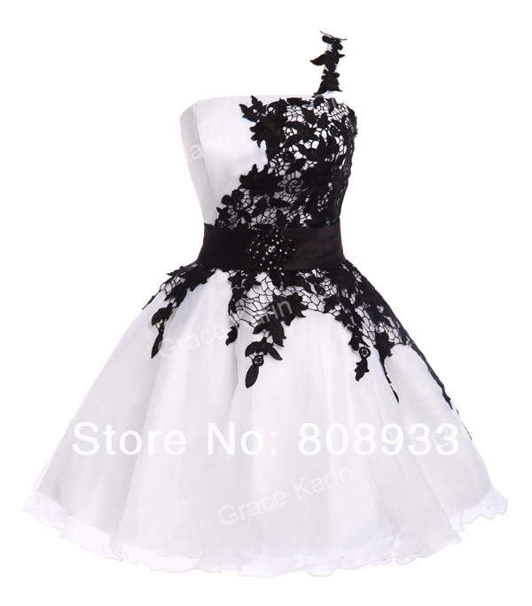 Free Shipping 1pc/lot Grace Karin Real Pictures White and Black Short One Shoulder Prom Dress CL4288-in Prom Dresses from Apparel & Accessories on Aliexpress.com