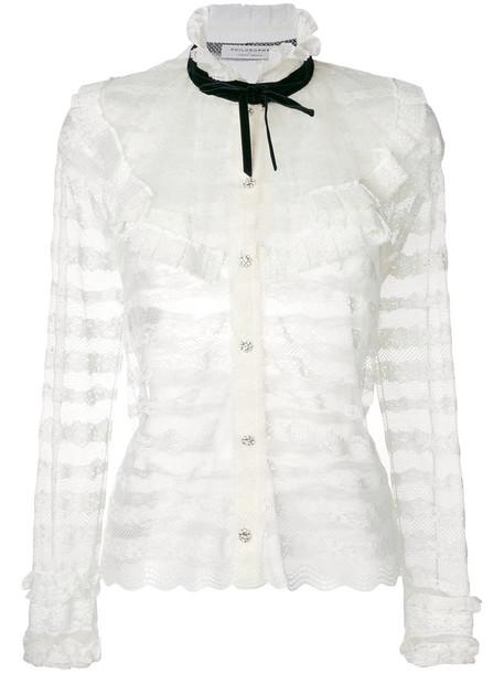 Philosophy di Lorenzo Serafini shirt lace shirt sheer women lace white top