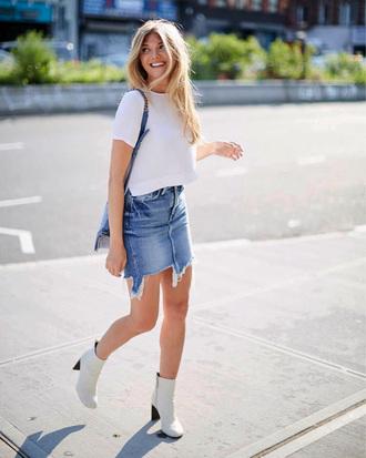skirt tumblr mini skirt denim denim skirt boots white boots ankle boots t-shirt white t-shirt