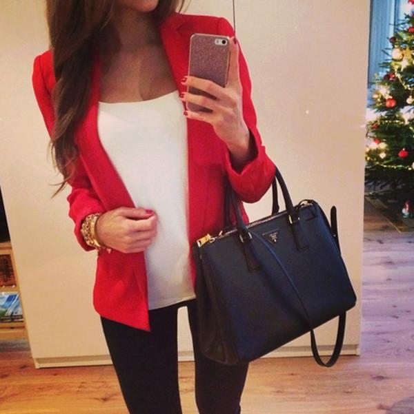 jacket red trendy blouse bag pants