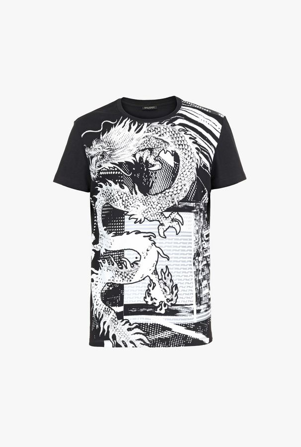 Black and white print cotton T-shirt