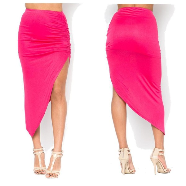 skirt ruched tight high low asymmetrical