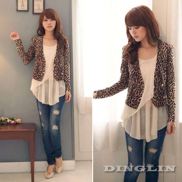 Fashion Women's Ladies Long Sleeve Leopard Knit Slim Fit Casual Cropped Top Bolero Small Jacket Blazer Blouse Free Shipping 0958-in Basic Jackets from Apparel & Accessories on Aliexpress.com