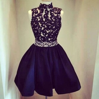 dress navy dress lace top turtleneck dress sleeveless dress dark blue dress