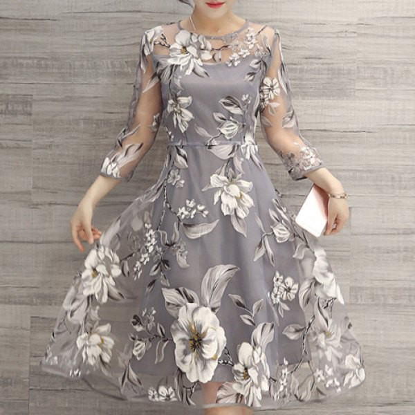 Rosewholesale Charming Round Neck 3/4 Sleeve Floral Print See-Through Dress For Women