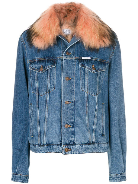 FORTE COUTURE jacket denim jacket denim fur women cotton blue