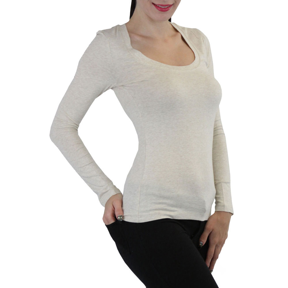 Women's Basic Casual Long Sleeve Scoopneck T Shirt Blouse Top | eBay