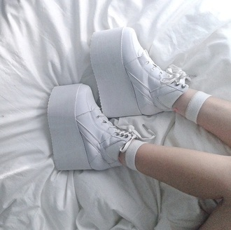 shoes platform shoes white
