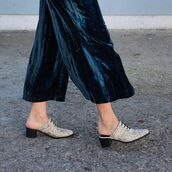 pants,cropped velvet pants,cropped pants,culottes,wide-leg pants,blue pants,velvet,velvet pants,shoes,mid heel sandals,mules,wide-leg velvet pants,cropped wide-leg velvet pants
