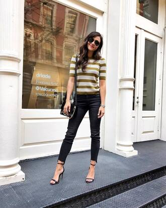 top tumblr stripes striped top denim jeans blue jeans sandals sandal heels high heel sandals