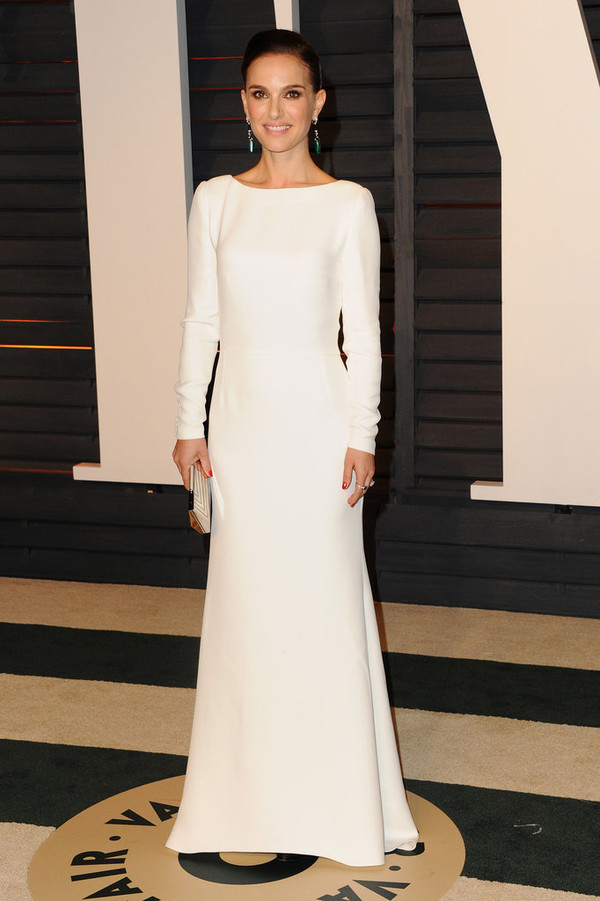 dress natalie portman oscars 2015 white dress maxi dress long sleeves