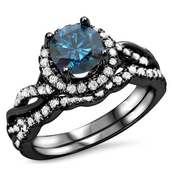 jewels round blue diamond ring twisted ring set bridal ring set wedding ring set black ring - Blue Diamond Wedding Ring