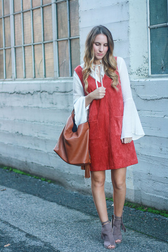 twenties girl style blogger top dress shoes bag red dress bell sleeves blouse peep toe boots handbag ankle boots