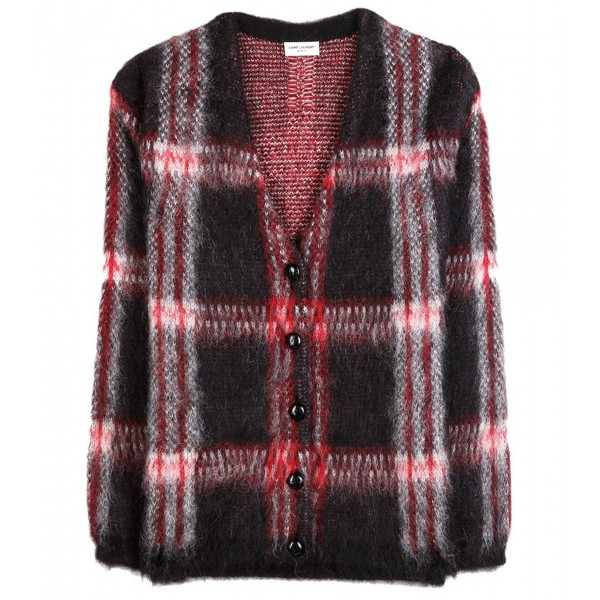 Saint Laurent Mohair-Blend Plaid Cardigan - Yves Saint Laurent - Polyvore