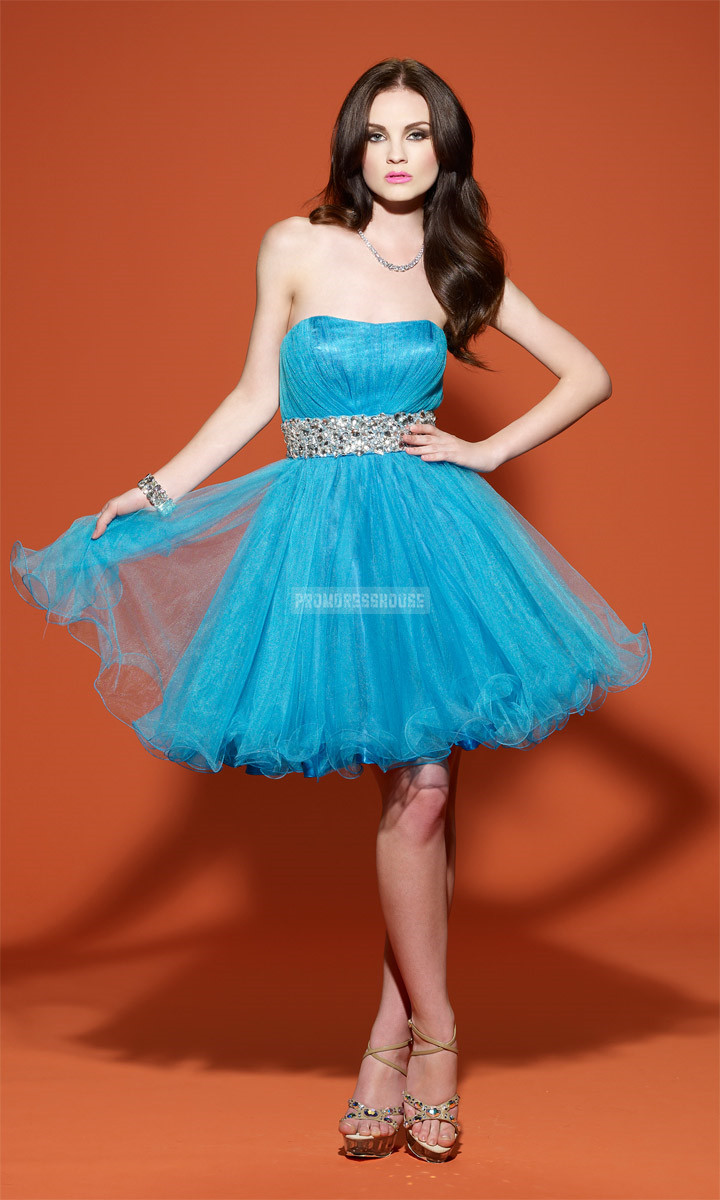 Strapless Open Back Tulle Ruching Blue Baby Doll Cocktail Dress - Promdresshouse.com