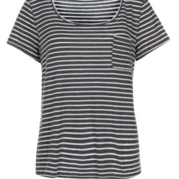 Black and White Stripe Wide V Neck T-Shirt on Wanelo