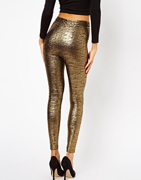 ASOS | ASOS Tube Pants in Pleated Metallic Effect at ASOS