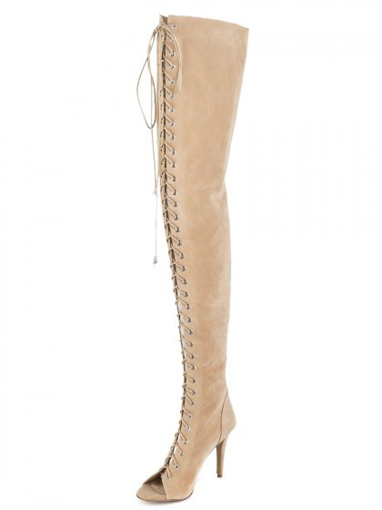 Nude Suede Peep Toe Lace Up Over the Knee Boots